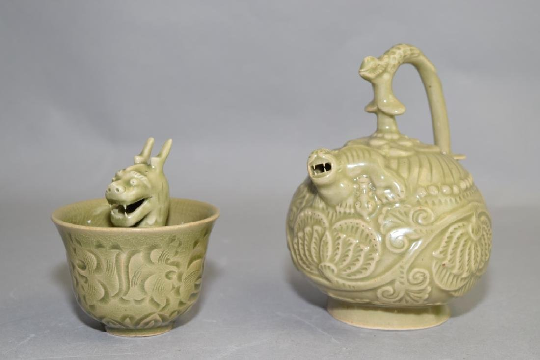 19-20th C. Chinese Celadon Glaze Reverse Teapot and Cup