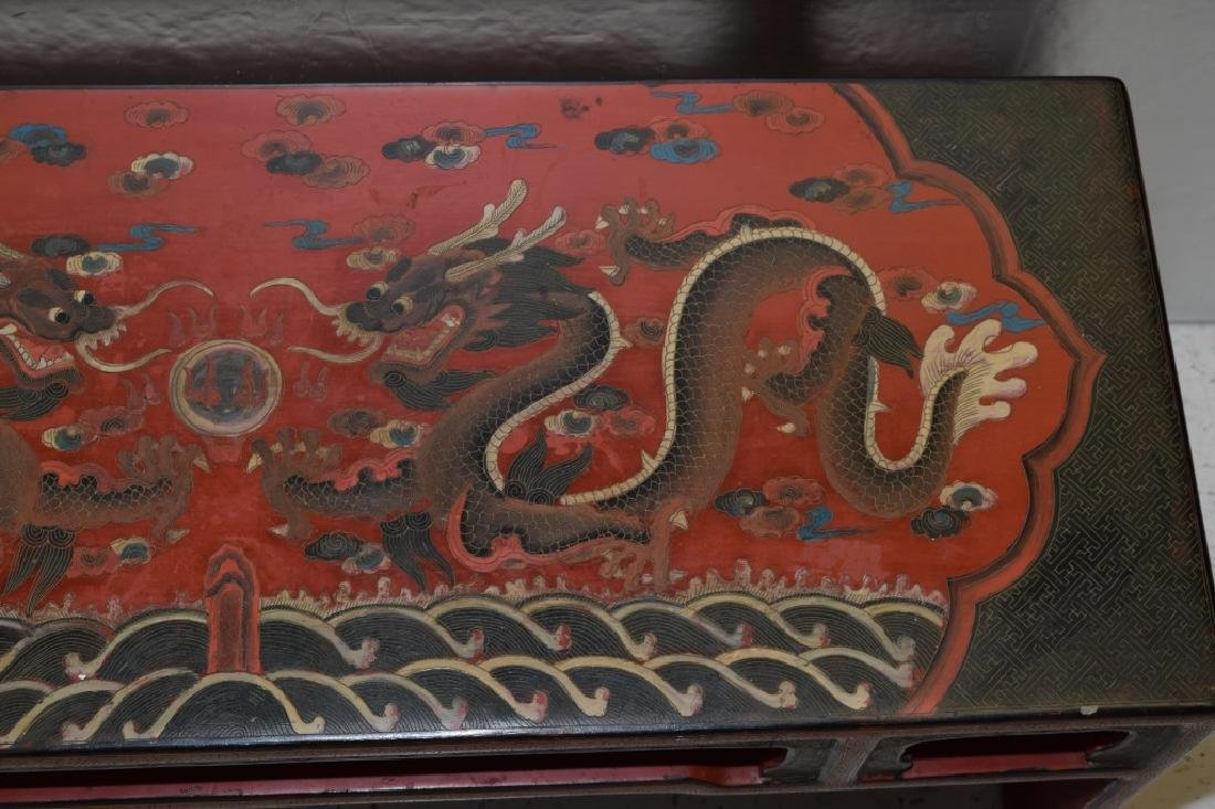19-20th C. Chinese Filled Lacquer Dragon Table - 3