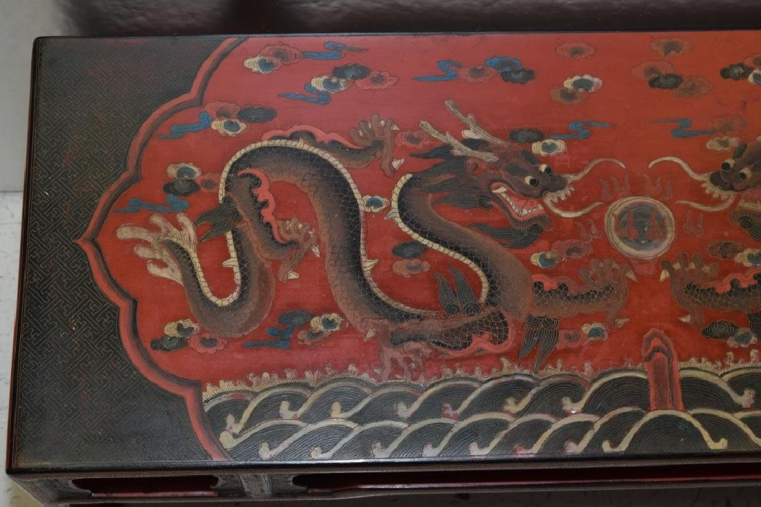19-20th C. Chinese Filled Lacquer Dragon Table - 4