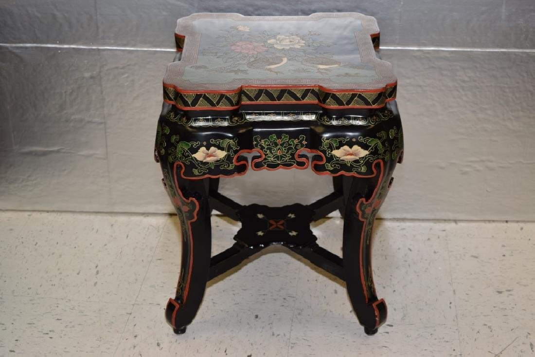 20th C. Chinese Filled Lacquer Mandarin Duck Garden