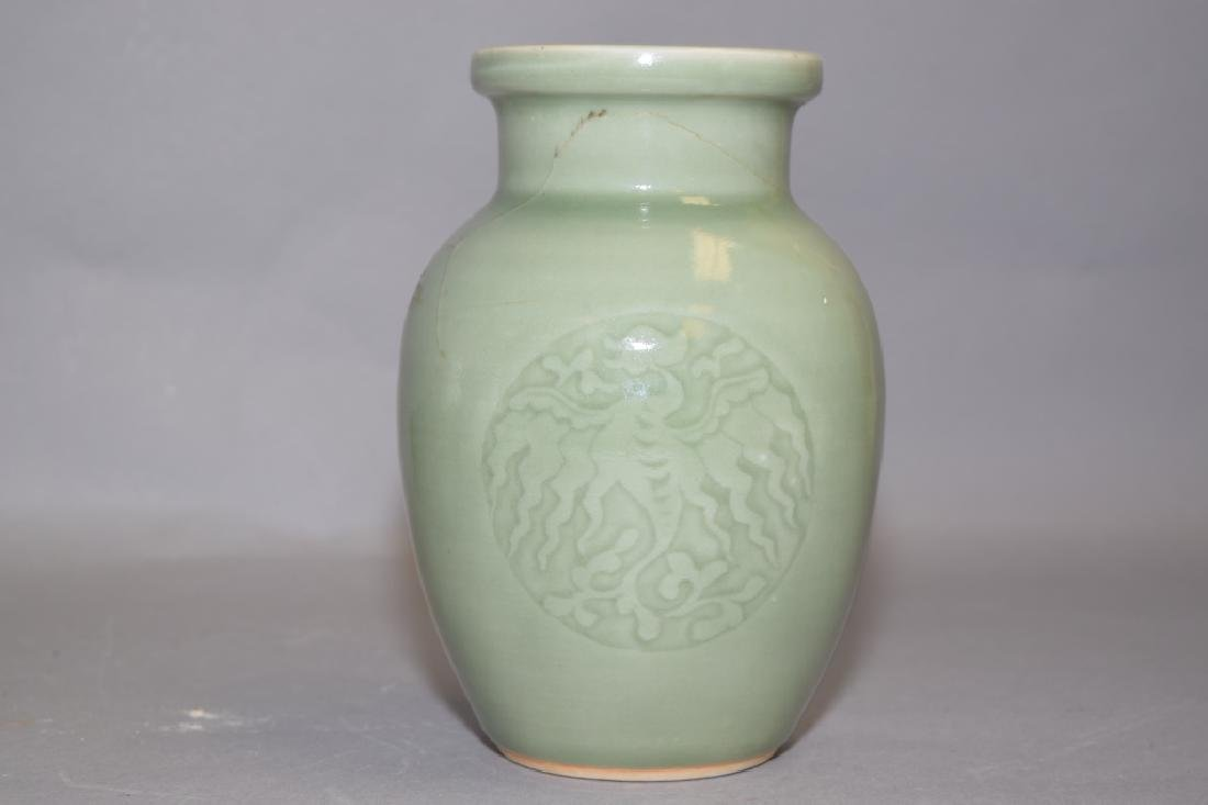 Qing Chinese Pea Glaze Relief Carved Vase