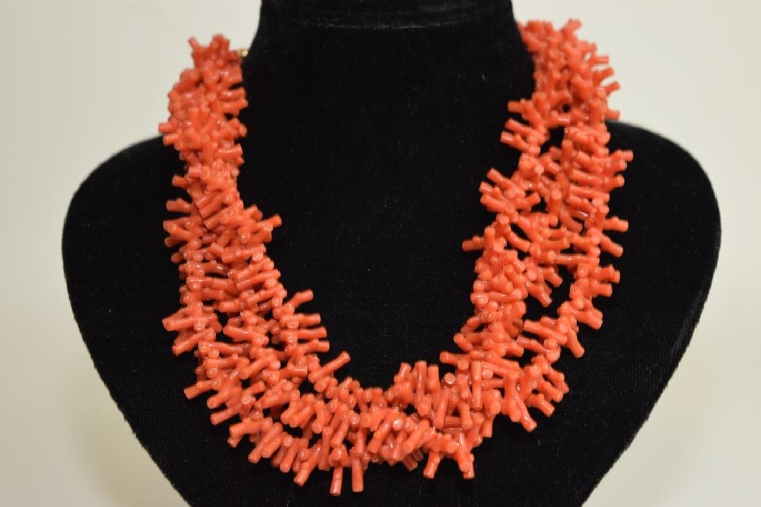 Three-Strand Red Coral Branch Necklace