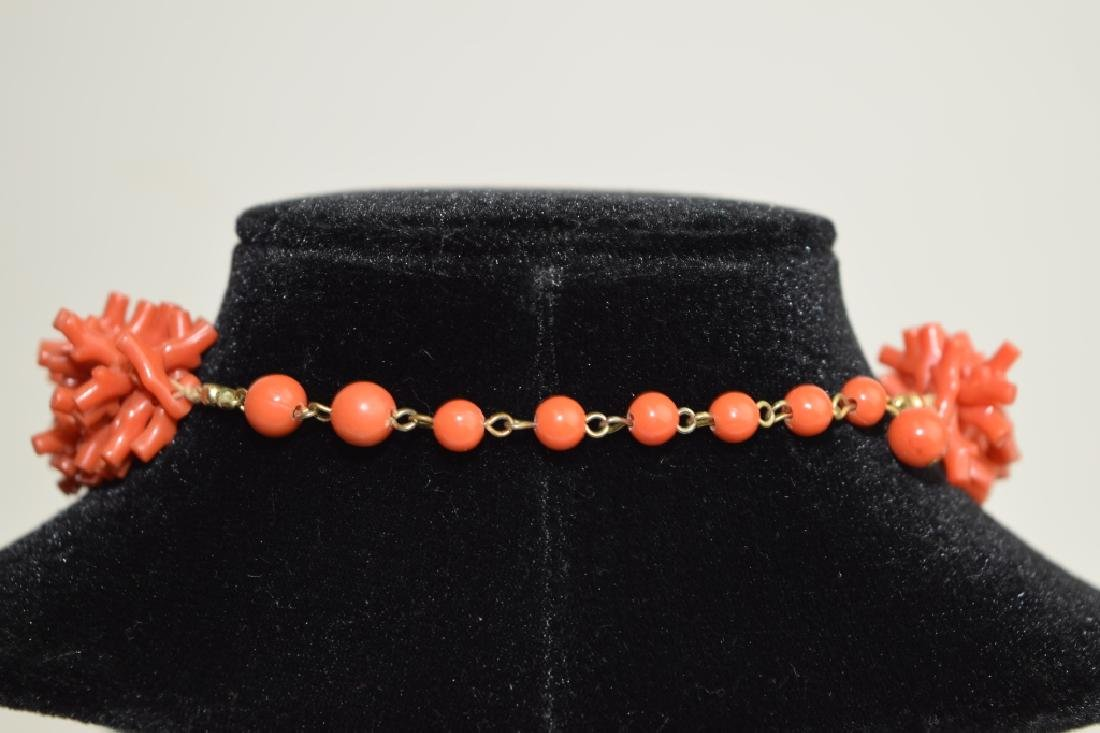Three-Strand Red Coral Branch Necklace - 3