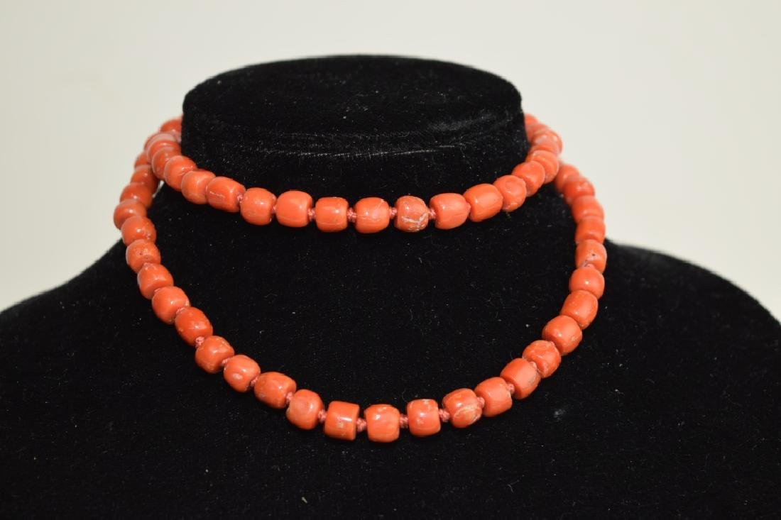 Red Coral Bead Necklace with Silver Clip
