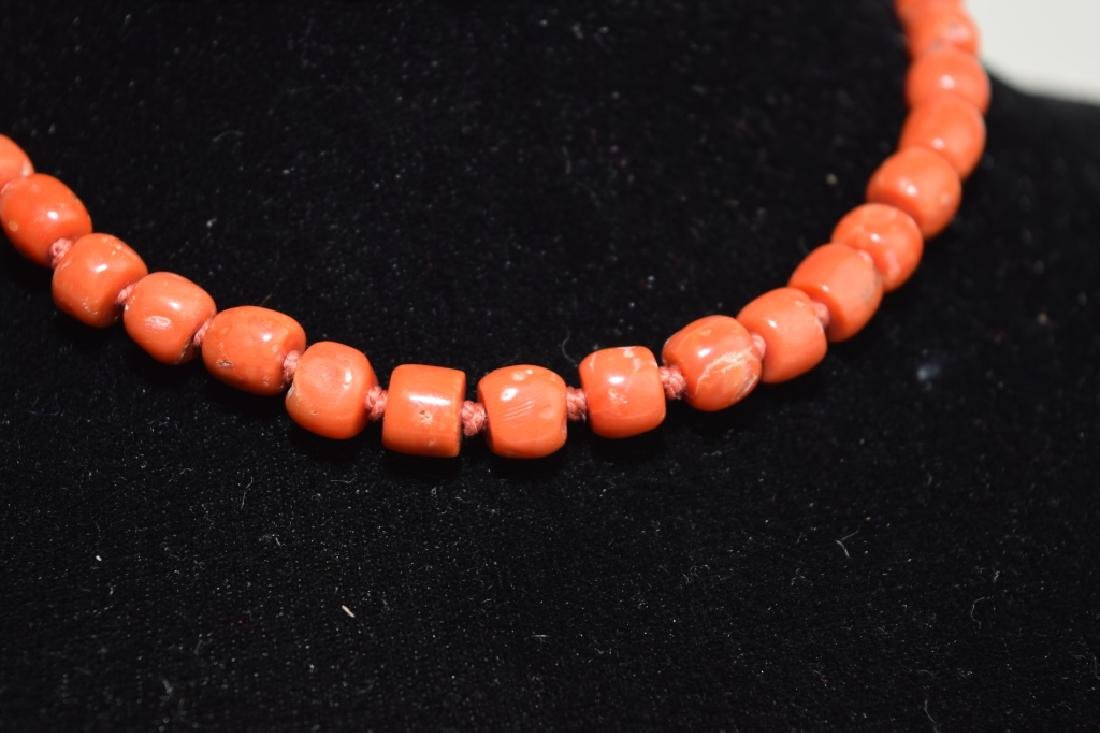 Red Coral Bead Necklace with Silver Clip - 2