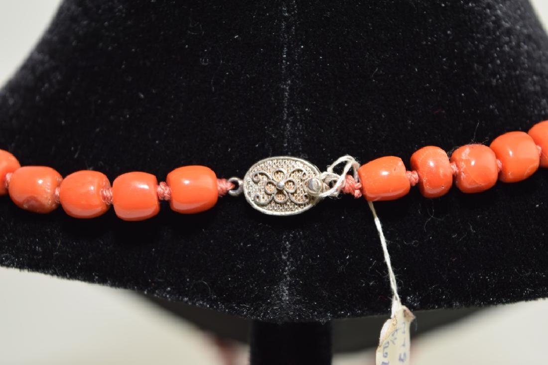 Red Coral Bead Necklace with Silver Clip - 3