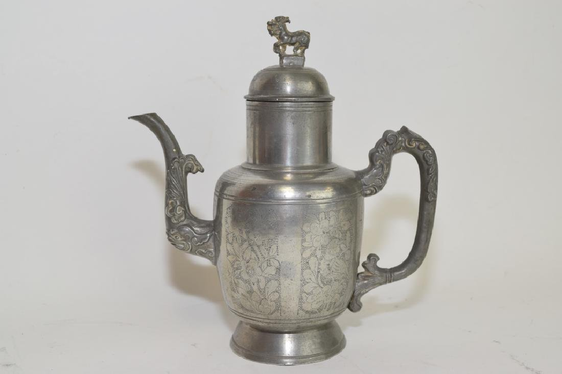 19th C. Chinese Pewter Relief Carved Teapot