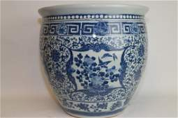 Mid-Qing Chinese Blue and White Vignette Jardinier