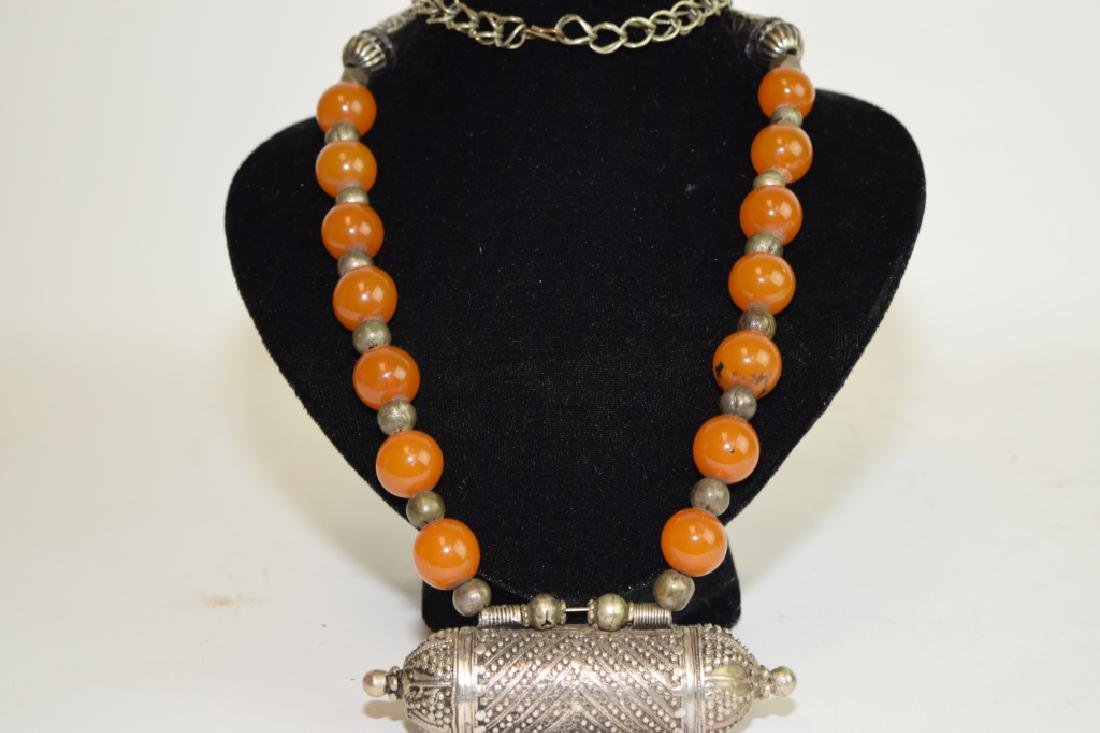 Tibetan Silver and Amber Bead Necklace