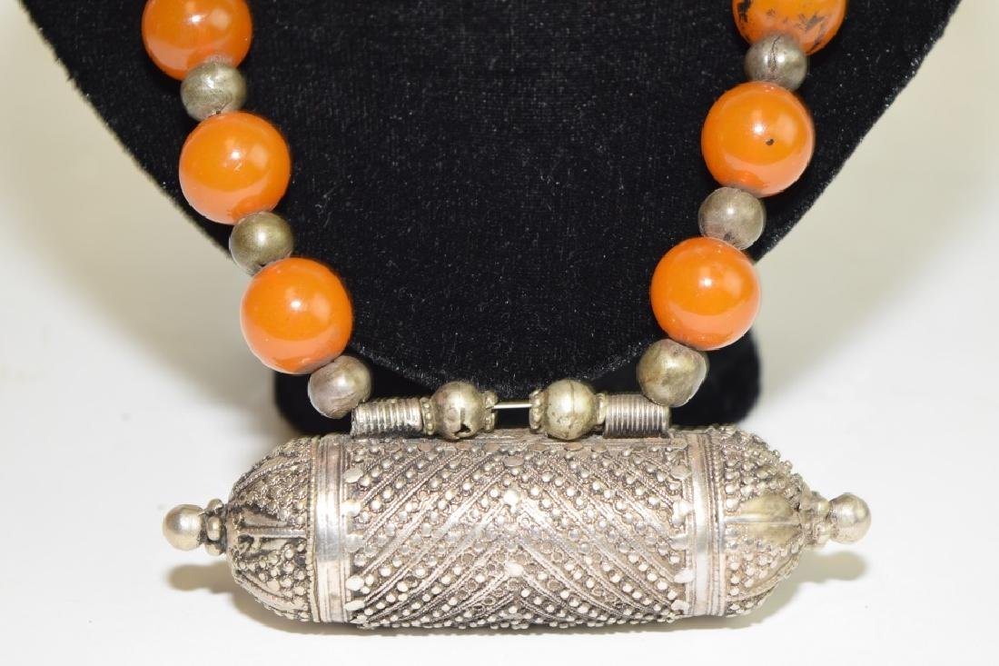 Tibetan Silver and Amber Bead Necklace - 2