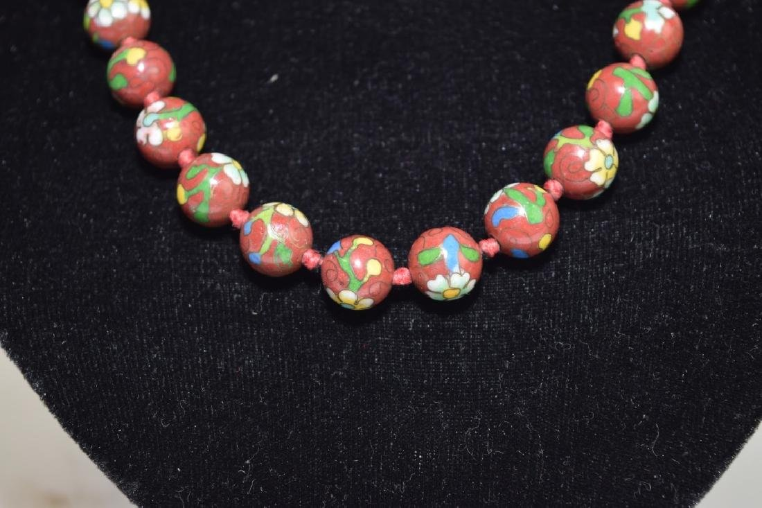 Chinese Cloisonne Bead Necklace - 2