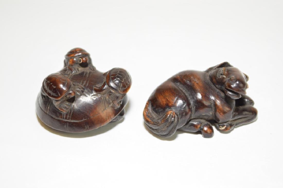 Two Japanese Wood Carved Netsuke