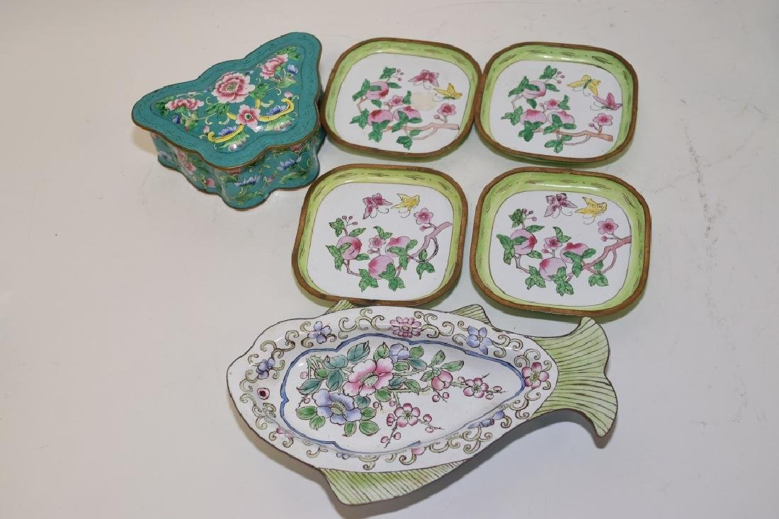 Chinese Enamel over Bronze Plates and Box