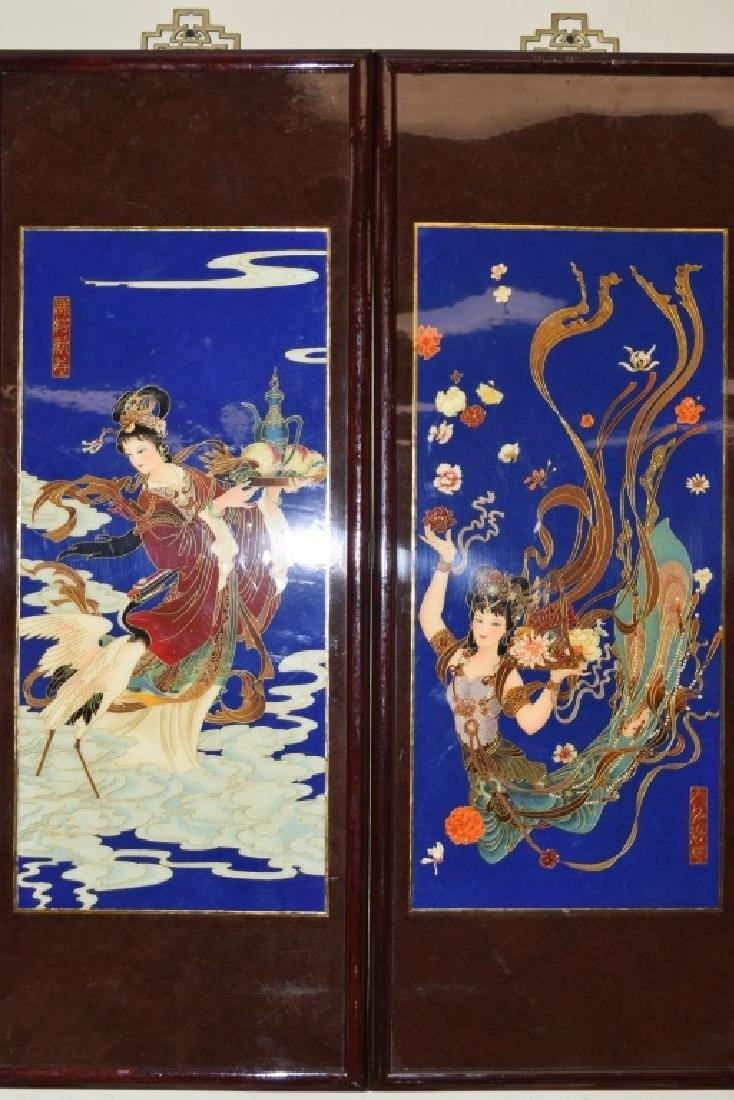Pair of Chinese Cloisonne Hanging Plaques