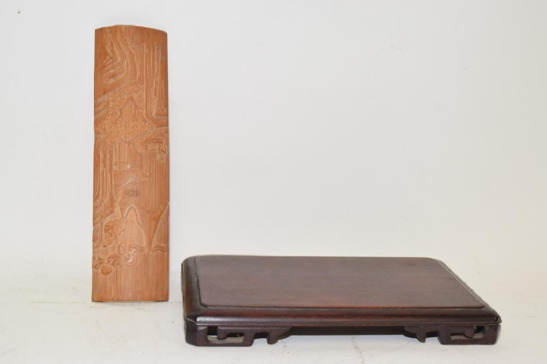 Chinese Bamboo Carved Wrist Rest and Wood Stand