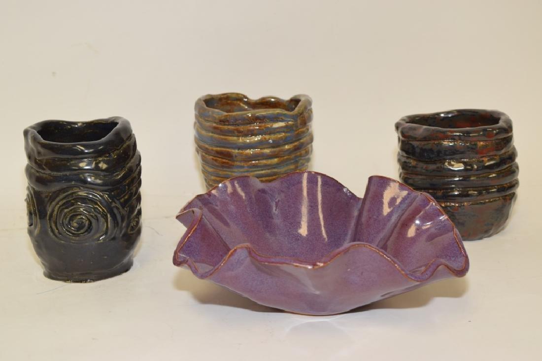Four Signed Contemporary Glazed Ceramic Wares