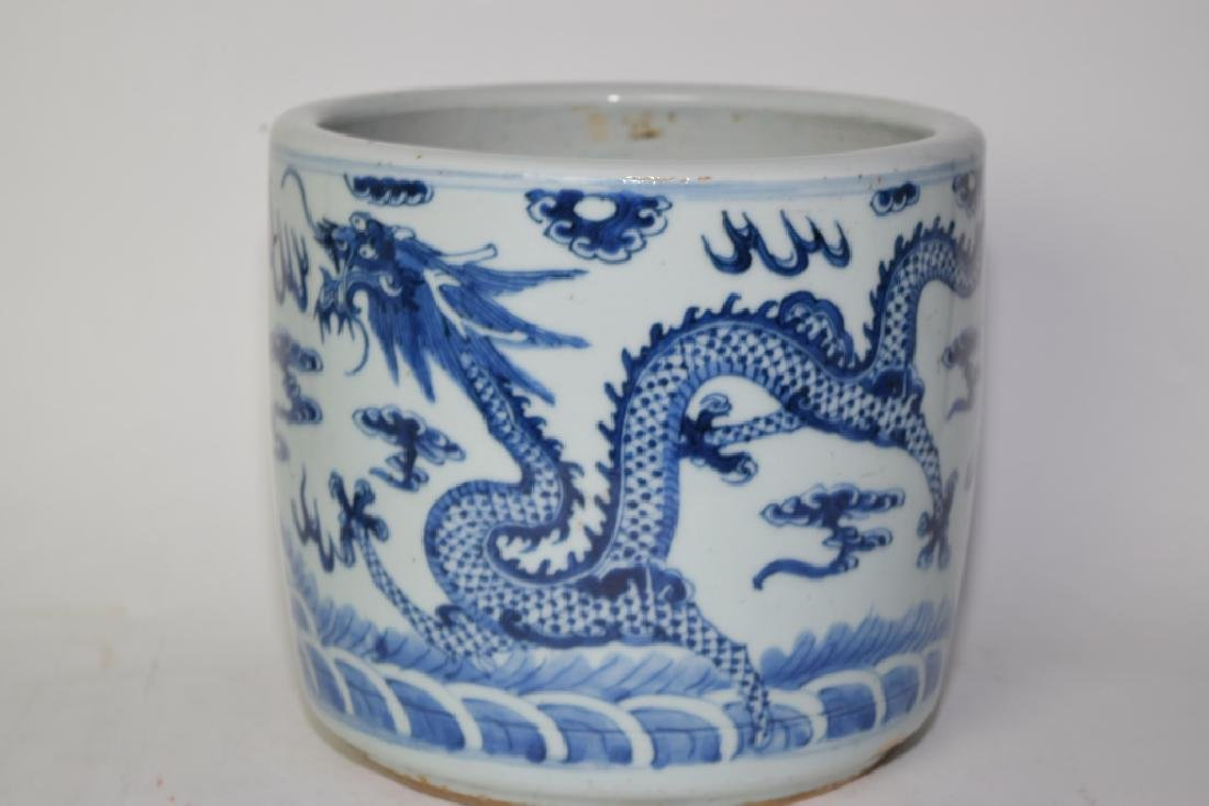19th C. Chinese Blue and White Dragon Brush Pot