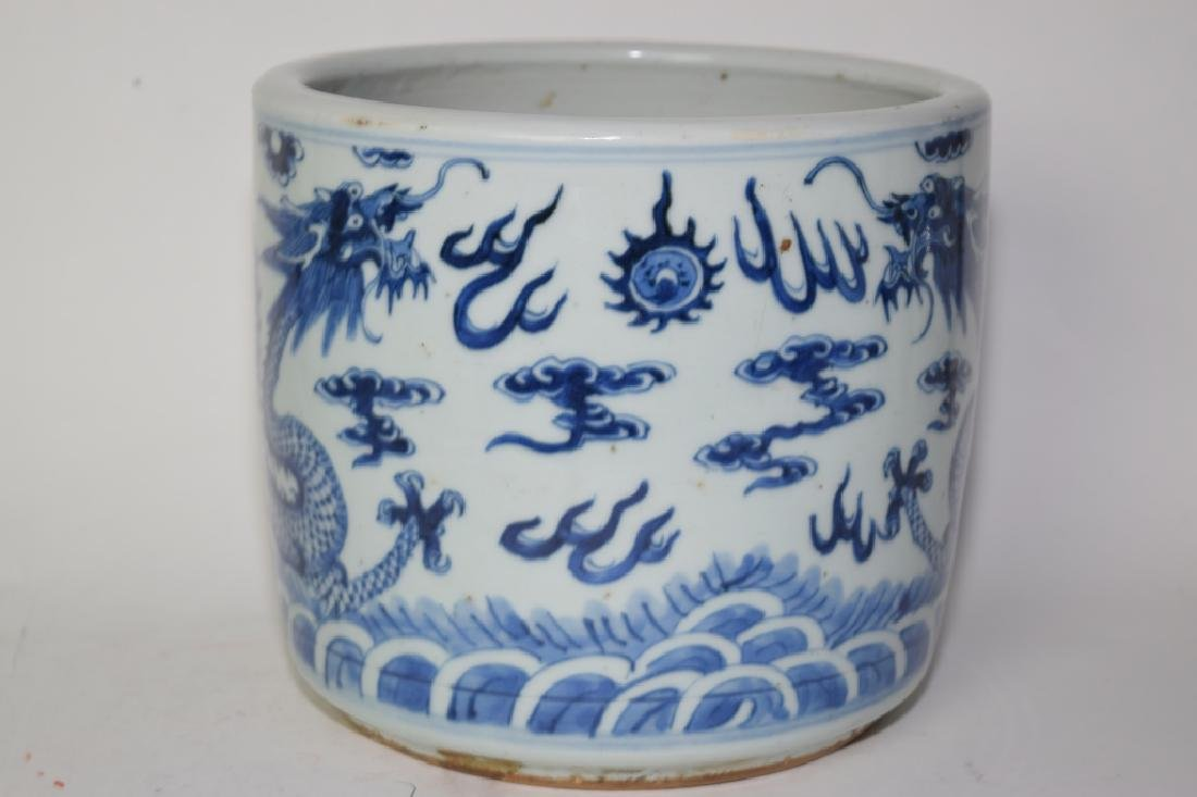 19th C. Chinese Blue and White Dragon Brush Pot - 2