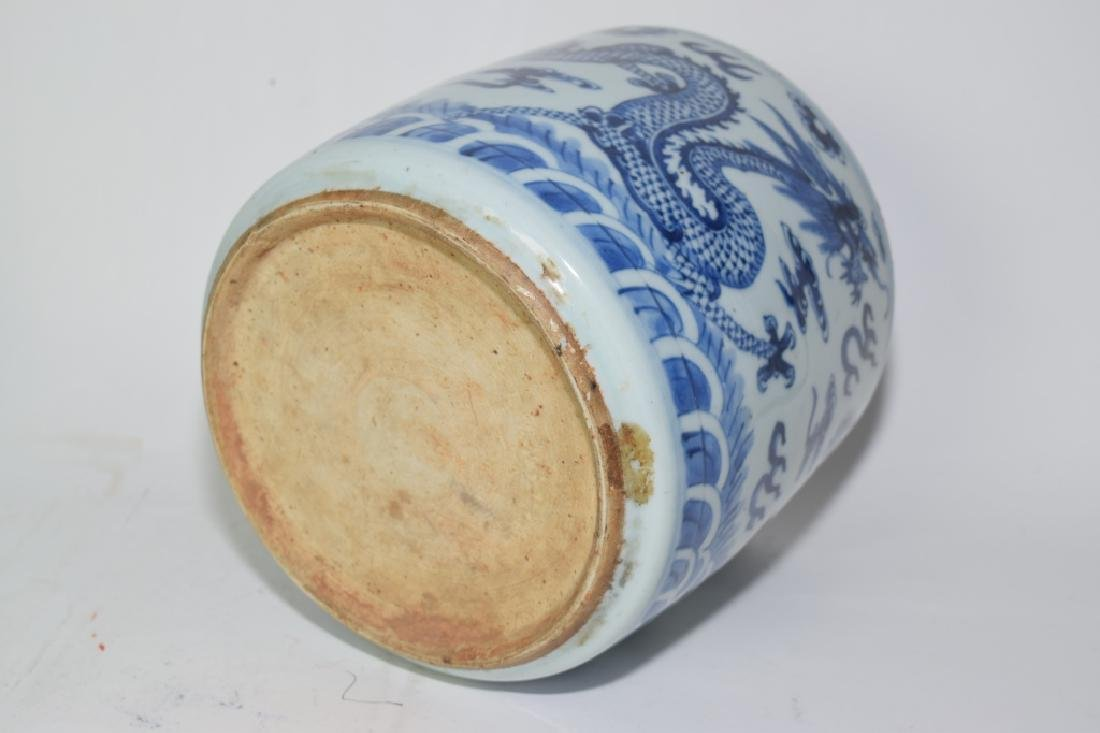 19th C. Chinese Blue and White Dragon Brush Pot - 5