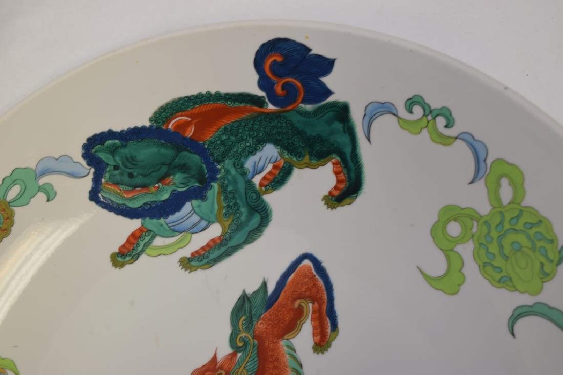 19-20th C. Chinese Famille Rose Lions Charger - 5