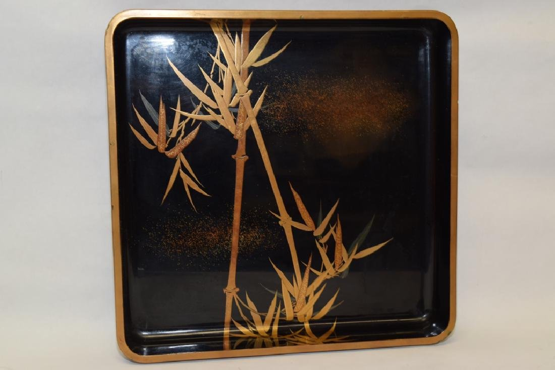 Japanese Gold Painted Black Lacquer Tray