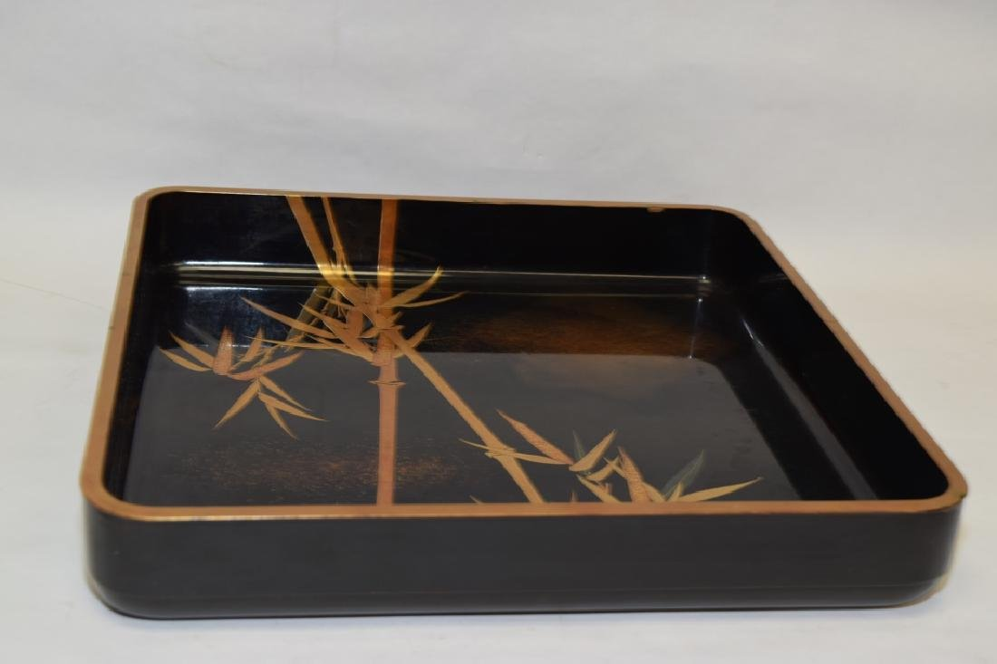 Japanese Gold Painted Black Lacquer Tray - 3