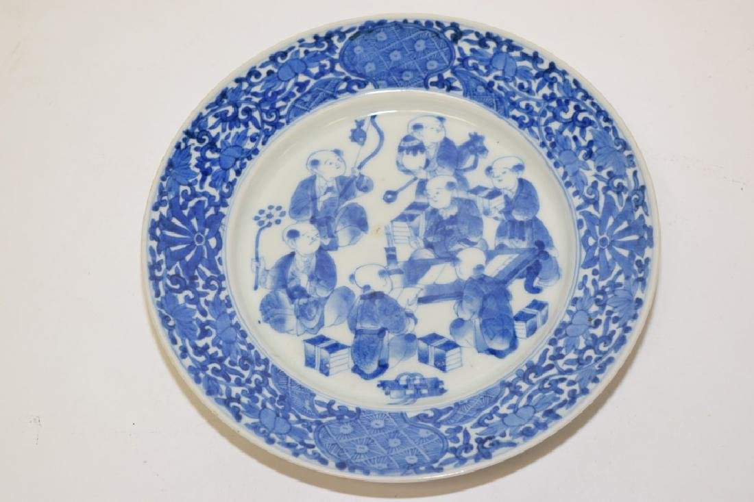 19th C. Japanese Blue and White Boys Plate