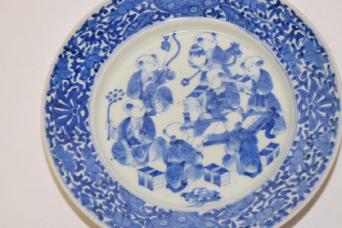 19th C. Japanese Blue and White Boys Plate - 2