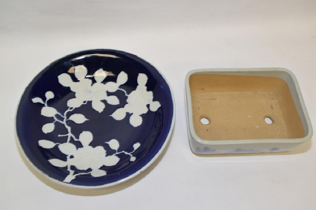 Japanese Pate-sur-Pate Plate and B&W Flower Pot - 2