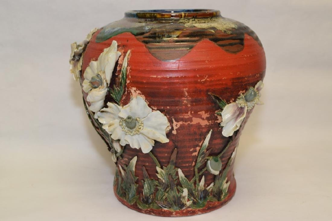 19th C. Japanese Carved Pottery Vase