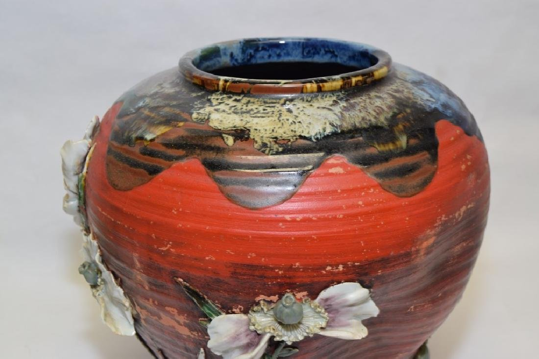 19th C. Japanese Carved Pottery Vase - 3