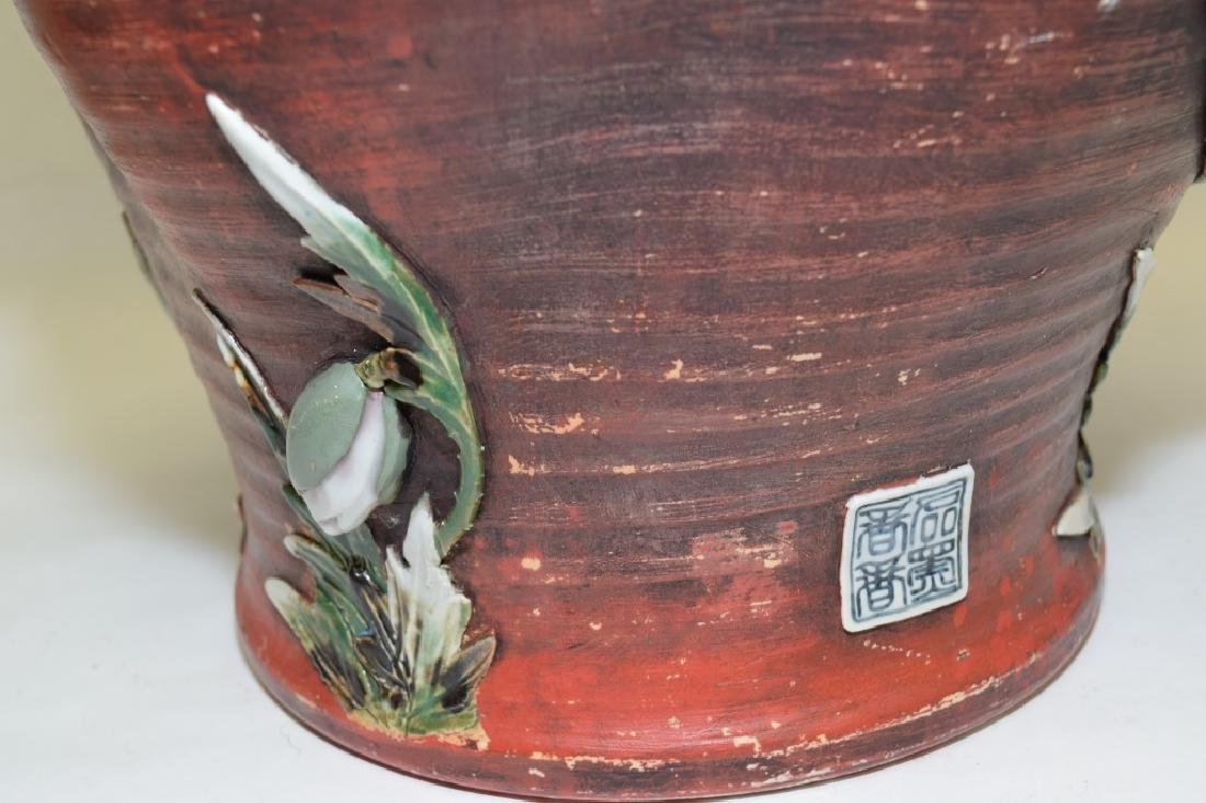 19th C. Japanese Carved Pottery Vase - 4