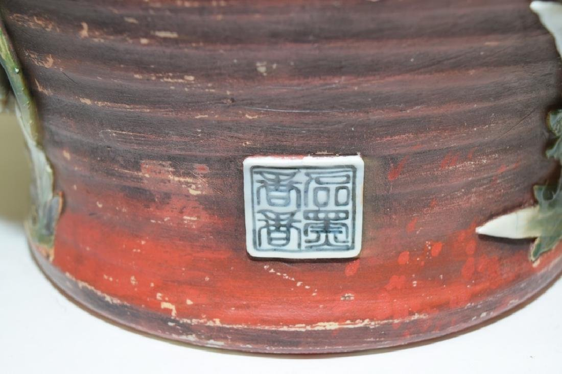 19th C. Japanese Carved Pottery Vase - 5