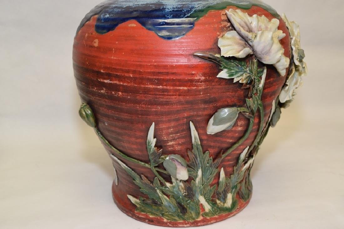 19th C. Japanese Carved Pottery Vase - 6