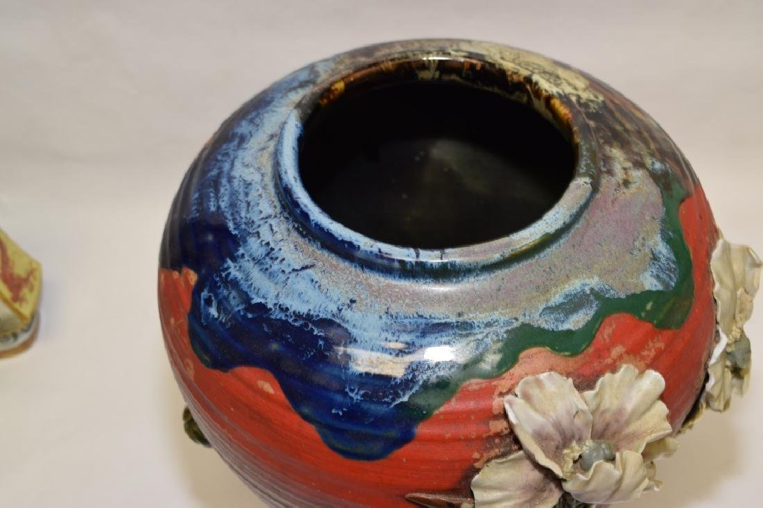 19th C. Japanese Carved Pottery Vase - 7