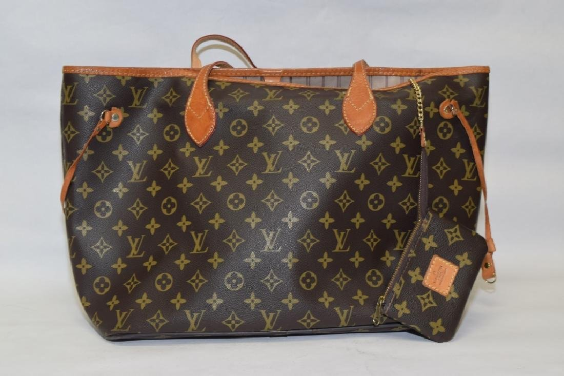 Louis Vuitton Style Large Tote with Coin Purse