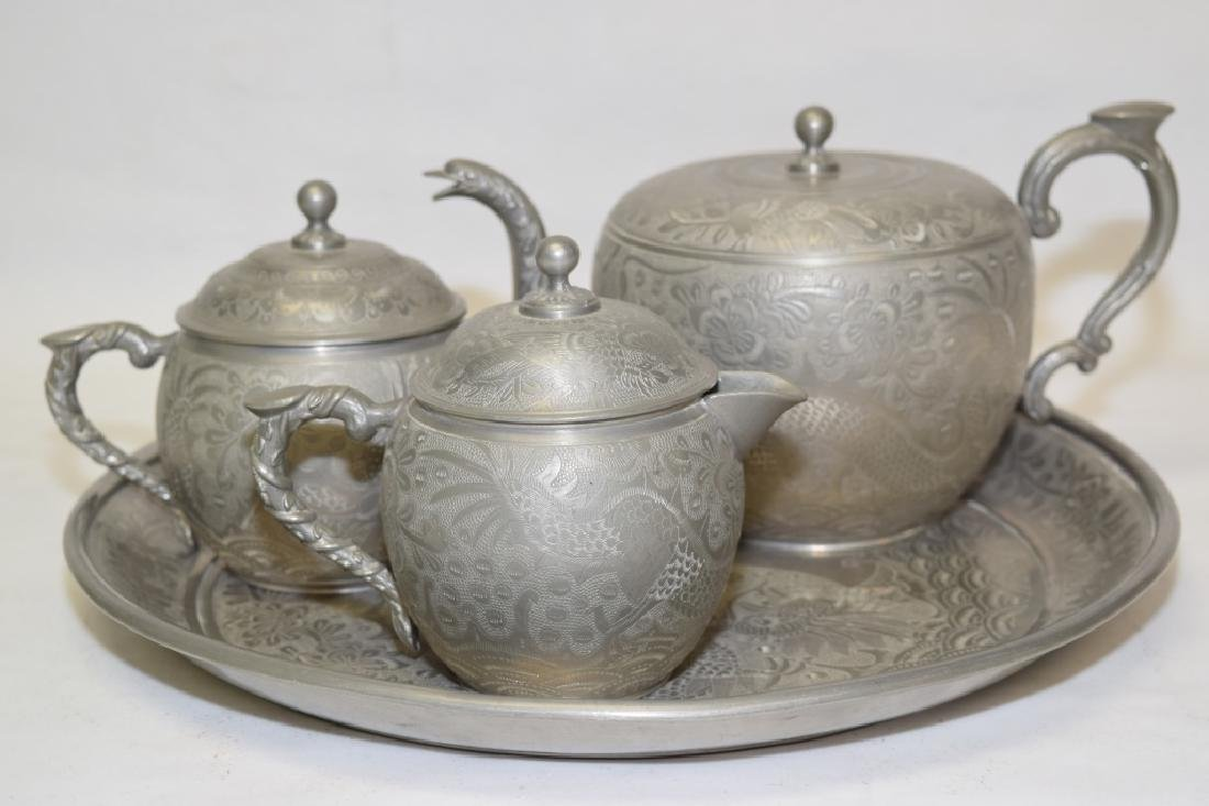 Set of Chinese Pewter Carved Coffee Ware