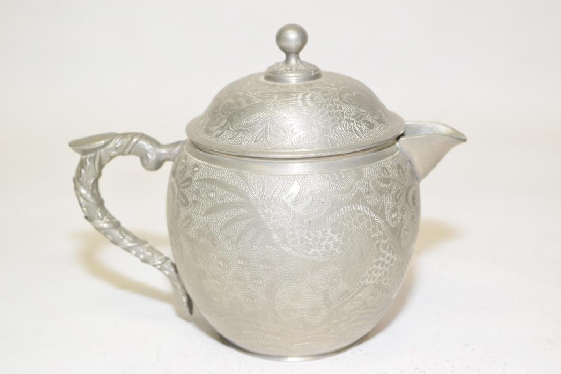 Set of Chinese Pewter Carved Coffee Ware - 2