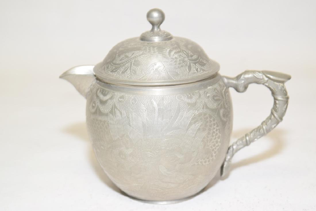 Set of Chinese Pewter Carved Coffee Ware - 3