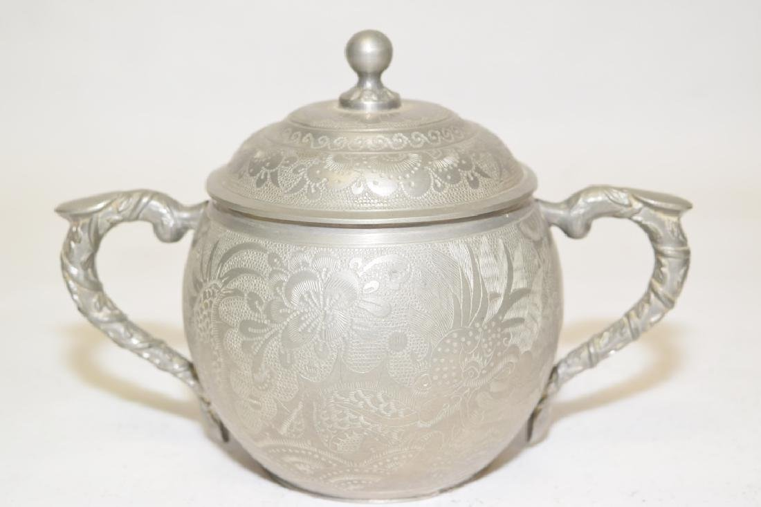 Set of Chinese Pewter Carved Coffee Ware - 4