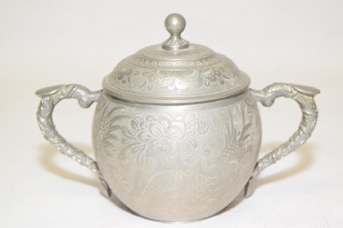 Set of Chinese Pewter Carved Coffee Ware - 5