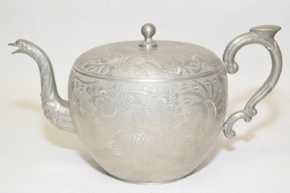 Set of Chinese Pewter Carved Coffee Ware - 6