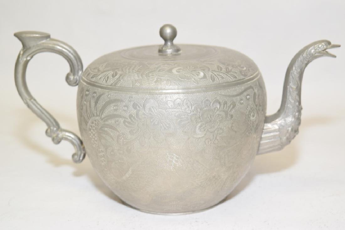 Set of Chinese Pewter Carved Coffee Ware - 7