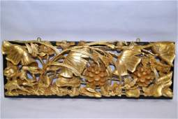Large Chinese Gilt Wood Carved Relief Plaque