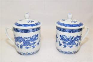 Pair of 1950-70s Chinese B&W Covered Cups