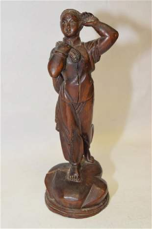 196070s Chinese Longan Wood Carved Maiden