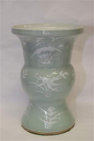 19th C Chinese Pea Glaze PatesurPate Spitoon