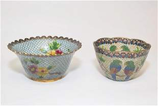 Two 20th C Chinese Peking Glass Cloisonne Cups