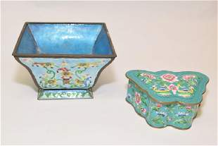 1920th C Chinese Enamel over Bronze Bowl and Box