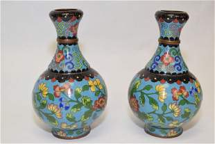 Pair of 1920th C Chinese Cloisonne Vases